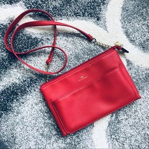 Double Pocket Red Crossbody Purse